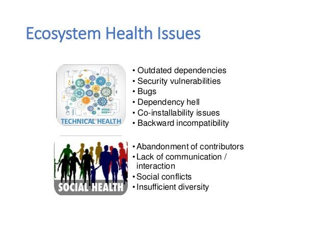 TECHNICAL HEALTH Ecosystem Health Issues • Outdated dependencies • Security vulnerabilities • Bugs • Dependency hell • Co-...