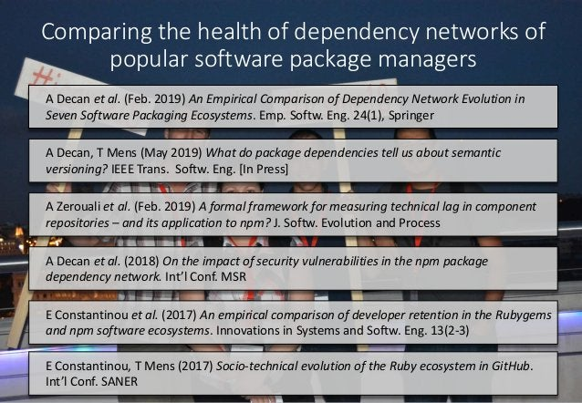 Comparing the health of dependency networks of popular software package managers A Decan et al. (Feb. 2019) An Empirical C...
