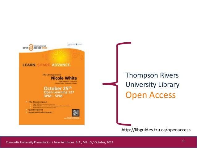 Thompson Rivers                                                                                      University Library   ...