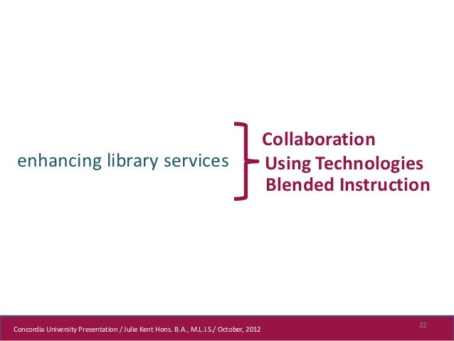 Collaboration enhancing library services                                                          Using Technologies      ...