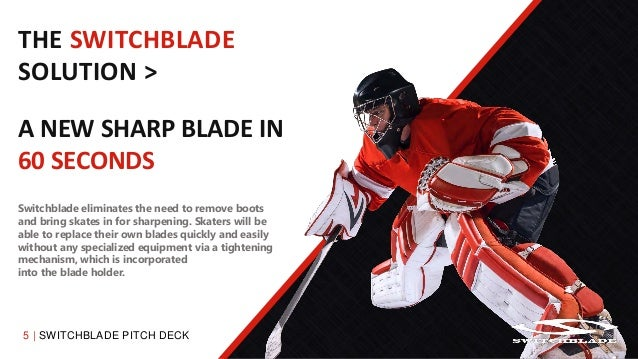 5   SWITCHBLADE PITCH DECK THE SWITCHBLADE SOLUTION > A NEW SHARP BLADE IN 60 SECONDS Switchblade eliminates the need to r...