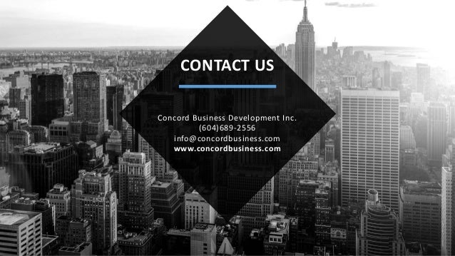   COMPREHENSIVE LAUNCH PACKAGE CONTACT US Concord Business Development Inc. (604)689-2556 info@concordbusiness.com www.con...