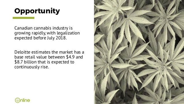 Opportunity Canadian cannabis industry is growing rapidly, with legalization expected before July 2018. Deloitte estimates...