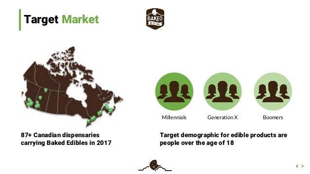 > Target Market 9 87+ Canadian dispensaries carrying Baked Edibles in 2017 Millennials Generation X Boomers Target demogra...