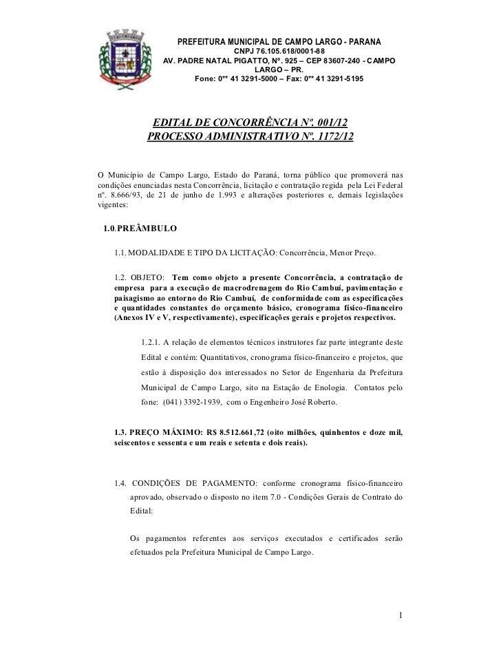 PREFEITURA MUNICIPAL DE CAMPO LARGO - PARANA                                     CNPJ 76.105.618/0001-88                  ...