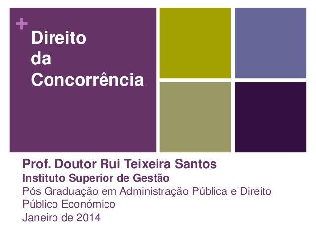 +  Direito da Concorrência  Prof. Doutor Rui Teixeira Santos Instituto Superior de Gestão Pós Graduação em Administração P...