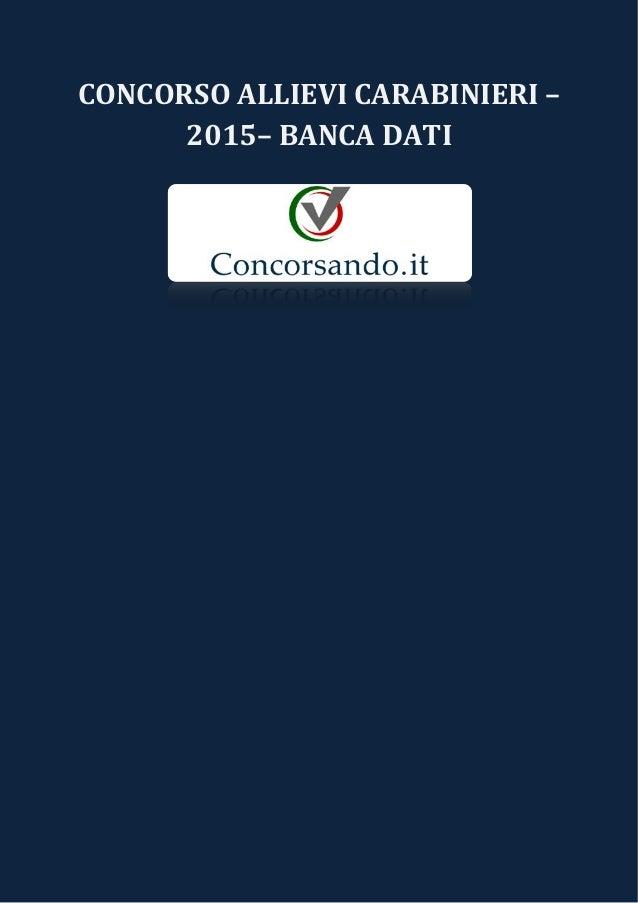 CONCORSO ALLIEVI CARABINIERI – 2015– BANCA DATI