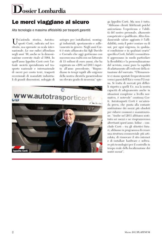 Dossier LombardiaLe merci viaggiano al sicuro                                                     ga Ippolito Corti. Ma no...