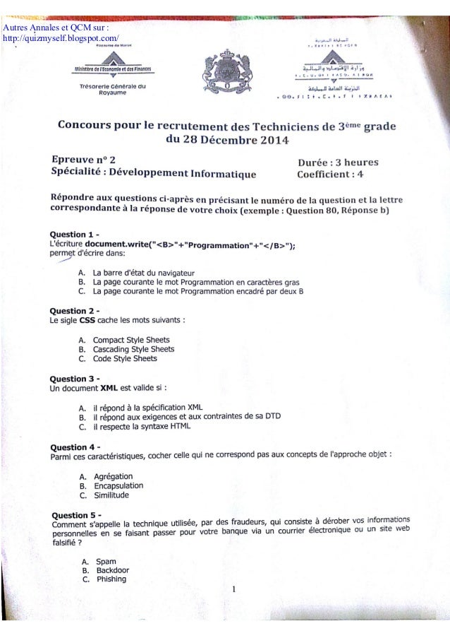 Autres Annales et QCM sur : http://quizmyself.blogspot.com/