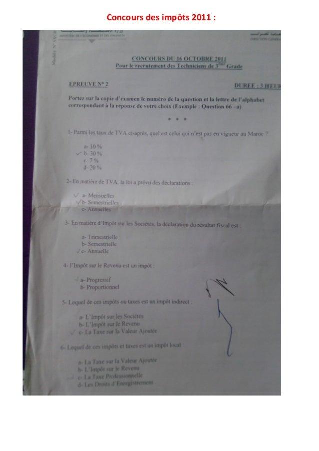 Concours des impôts 2011 :