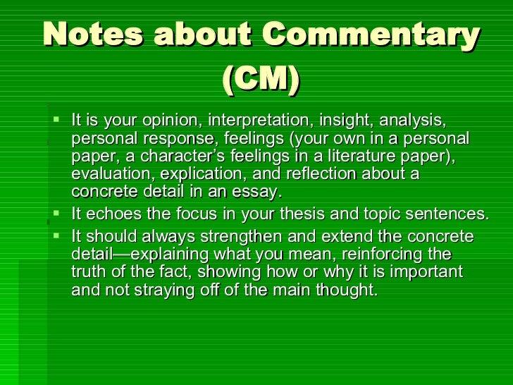 essay commentary concrete detail