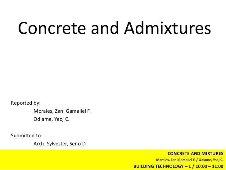 BT 1: Concrete and Admixtures