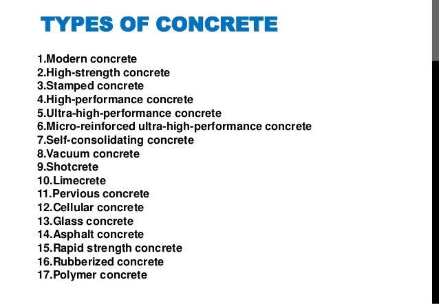 3 types of concrete