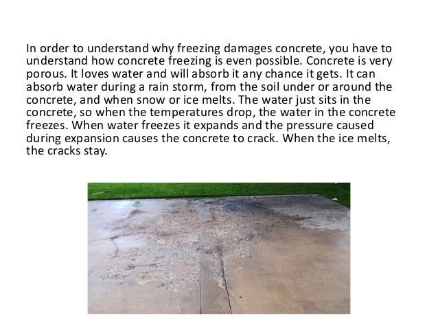 Concrete freeze damage for What happens to concrete if it freezes