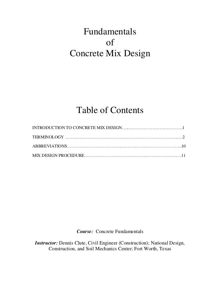Fundamentals                         of                Concrete Mix Design                    Table of ContentsINTRODUCTIO...