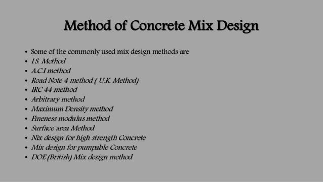 Pdf) aci method of concrete mix design: a parametric study.