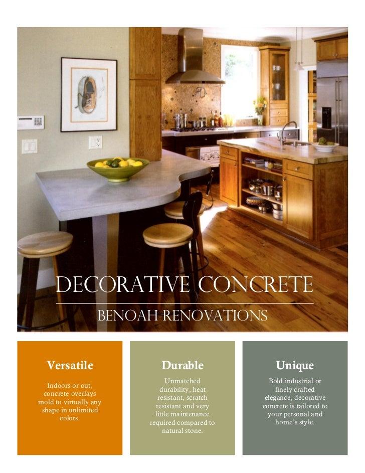 Decorative concrete                   Benoah renovations  Versatile                Durable                  Unique        ...