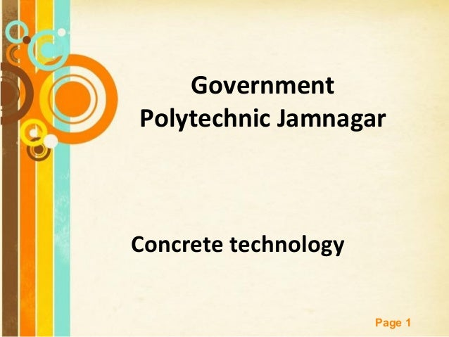Free Powerpoint Templates Page 1 Government Polytechnic Jamnagar Concrete technology