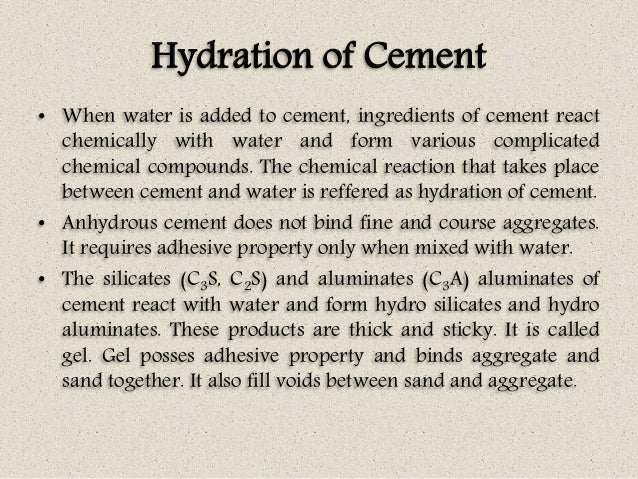 Cement C3a C4af And Hydration In : Concrete technology unit i