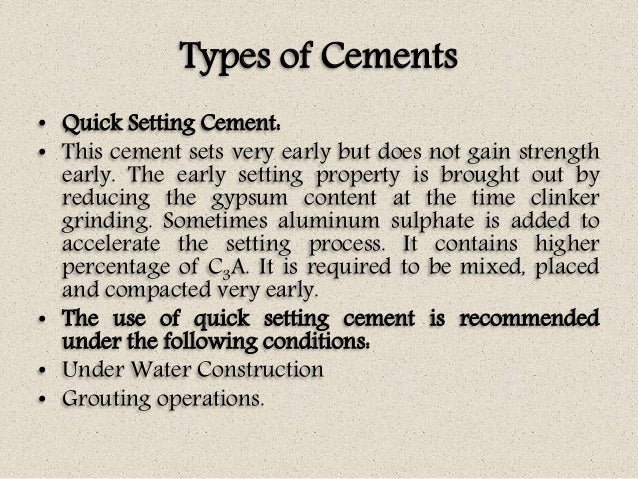 Quick Setting Cement : Concrete technology unit i