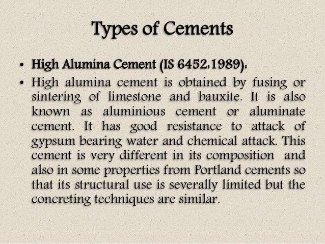 High Alumina Fire Cement : Concrete technology unit i