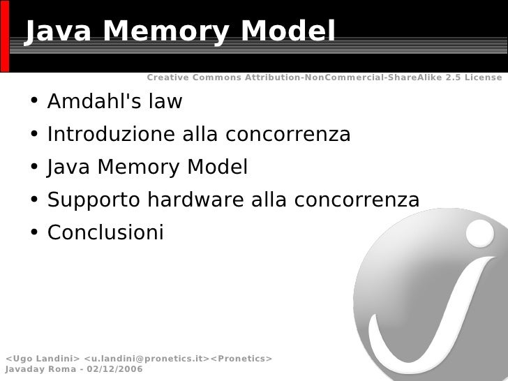 Java Memory Model <ul><li>Amdahl's law </li></ul><ul><li>Introduzione alla concorrenza </li></ul><ul><li>Java Memory Model...