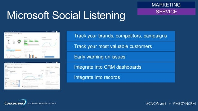ALL RIGHTS RESERVED © 2014 #CNCYevent + #MSDYNCRM Track your brands, competitors, campaigns Track your most valuable custo...