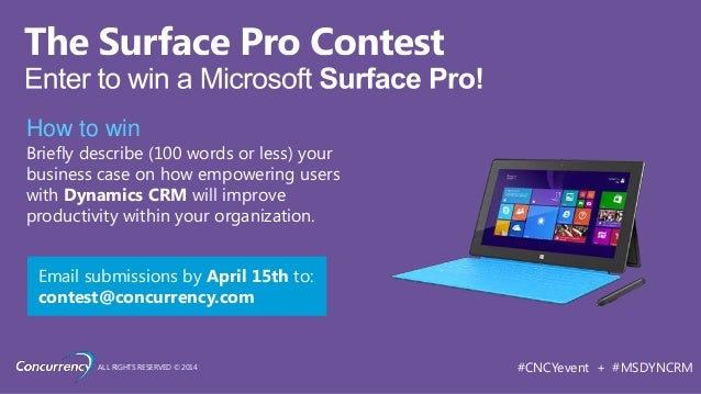 ALL RIGHTS RESERVED © 2014 #CNCYevent + #MSDYNCRM How to win Briefly describe (100 words or less) your business case on ho...