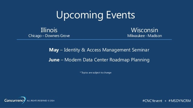 ALL RIGHTS RESERVED © 2014 #CNCYevent + #MSDYNCRM Upcoming Events Wisconsin Milwaukee - Madison Illinois Chicago – Downers...