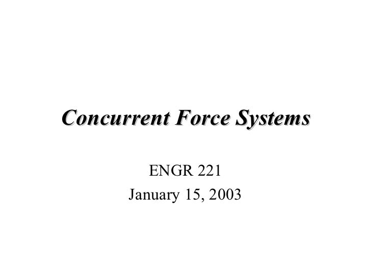 Concurrent Force Systems ENGR 221 January 15, 2003