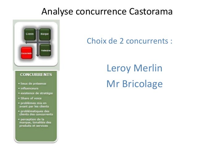 Analyse concurrence Castorama         Choix de 2 concurrents :              Leroy Merlin              Mr Bricolage