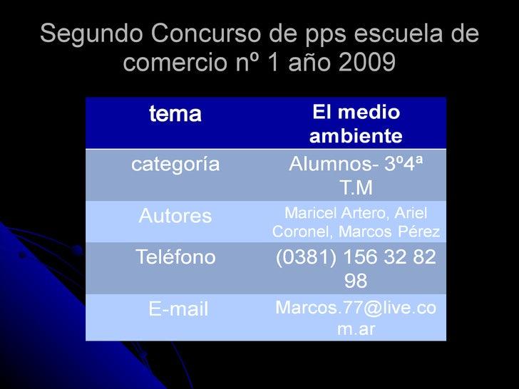 Segundo Concurso de pps escuela de comercio nº 1 año 2009