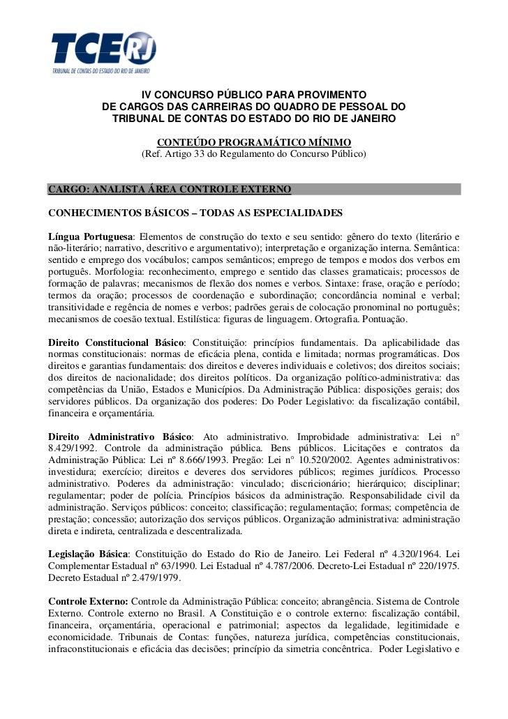 IV CONCURSO PÚBLICO PARA PROVIMENTO             DE CARGOS DAS CARREIRAS DO QUADRO DE PESSOAL DO              TRIBUNAL DE C...