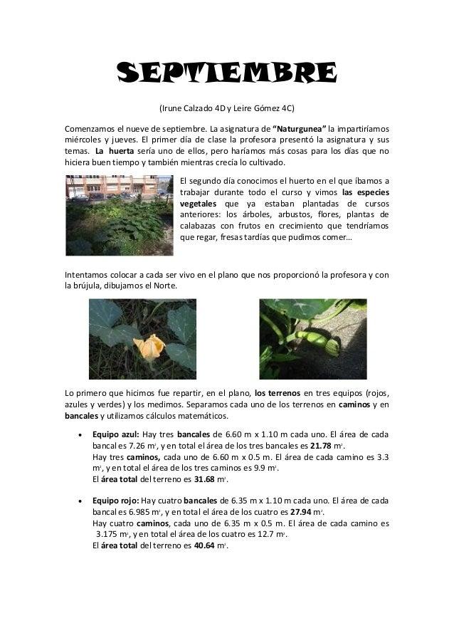 """SEPTIEMBRE (Irune Calzado 4D y Leire Gómez 4C) Comenzamos el nueve de septiembre. La asignatura de """"Naturgunea"""" la imparti..."""