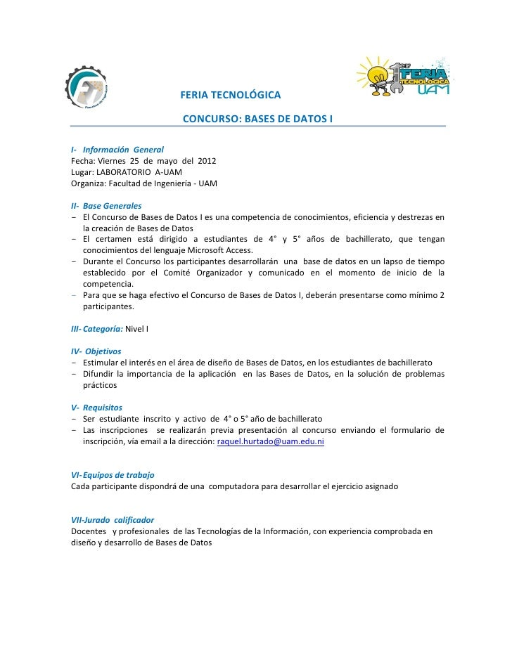 FERIA TECNOLÓGICA                             CONCURSO: BASES DE DATOS II- Información GeneralFecha: Viernes 25 de mayo de...