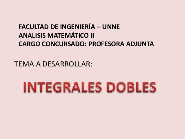 FACULTAD DE INGENIERÍA – UNNEANALISIS MATEMÁTICO IICARGO CONCURSADO: PROFESORA ADJUNTATEMA A DESARROLLAR: