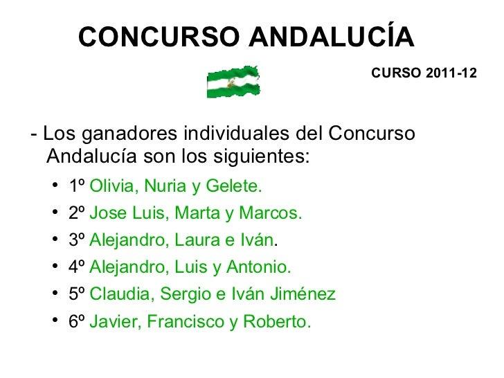 <ul><li>- Los ganadores individuales del Concurso Andalucía son los siguientes: </li></ul><ul><ul><li>1º  Olivia, Nuria y ...