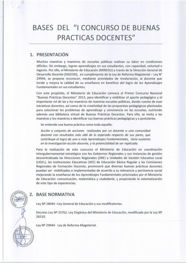 Concurso buenas practicas docentes 2013 bases for Concurso docentes
