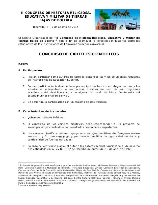II CO ONGRESO DE HIST O TORIA RE ELIGIOSA A, EDUCATIVA Y MILIT A TAR DE TI IERRAS BAJ JAS DE BOLIVIA B Riberalta 2 – 5 de ...