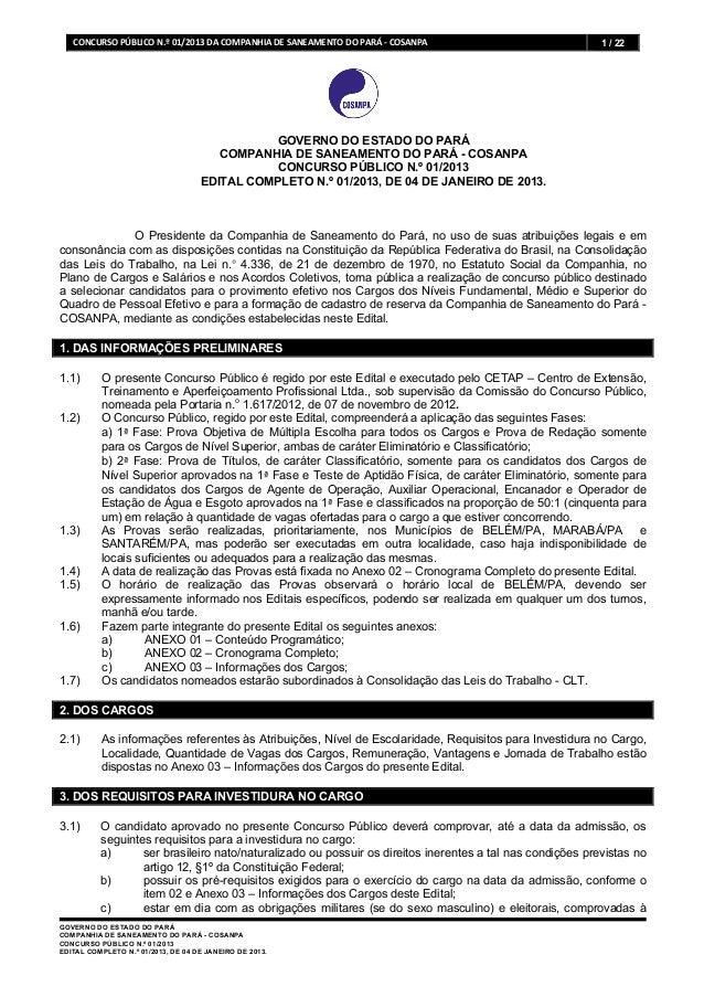CONCURSO PÚBLICO N.º 01/2013 DA COMPANHIA DE SANEAMENTO DO PARÁ -‐ COSANPA    1 / 22             ...