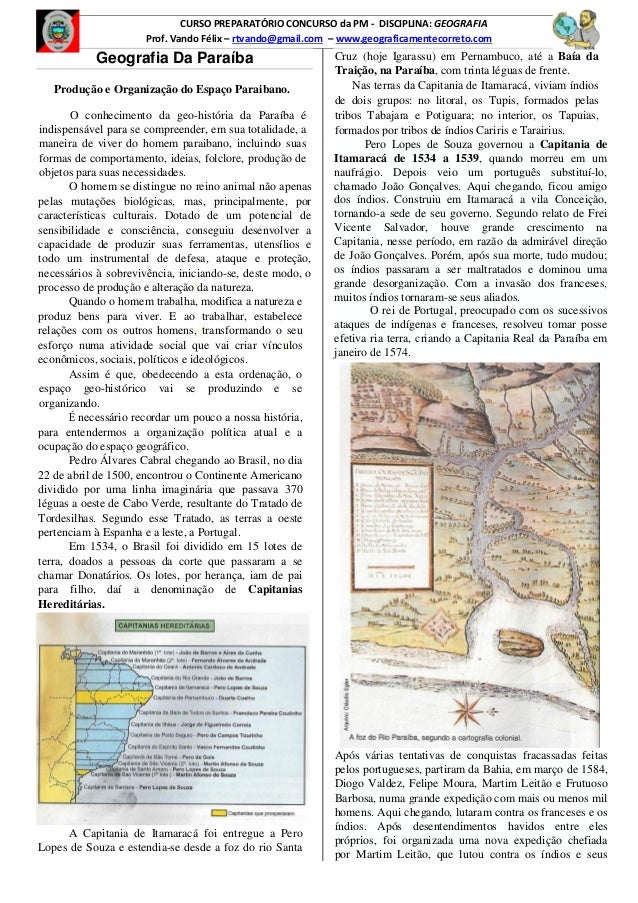 CURSO PREPARATÓRIO CONCURSO da PM - DISCIPLINA: GEOGRAFIA Prof. Vando Félix – rtvando@gmail.com – www.geograficamentecorre...