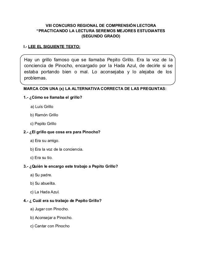 Concurso de comprension lectora 1º a 6º 2012