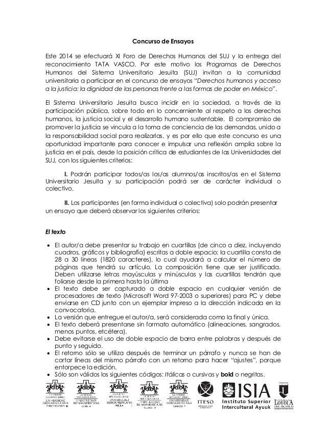 Concurso de Ensayos Este 2014 se efectuará XI Foro de Derechos Humanos del SUJ y la entrega del reconocimiento TATA VASCO....