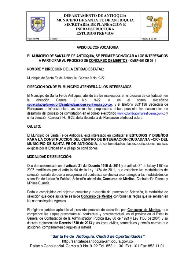 DEPARTAMENTO DE ANTIOQUIA MUNICIPIO DE SANTA FE DE ANTIOQUIA SECRETARIA DE PLANEACION E INFRAESTRUCTURA ESTUDIOS PREVIOS V...