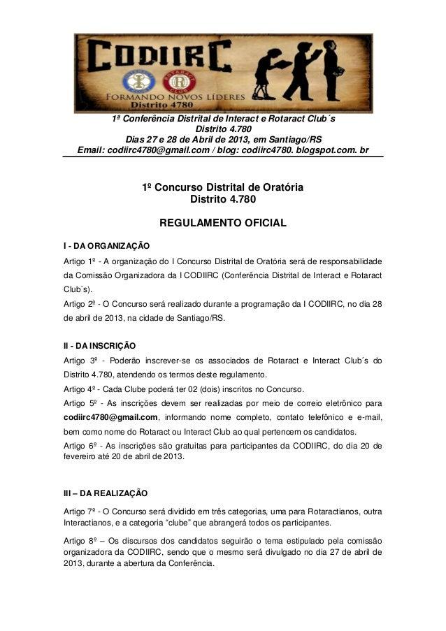1ª Conferência Distrital de Interact e Rotaract Club´s                              Distrito 4.780              Dias 27 e ...