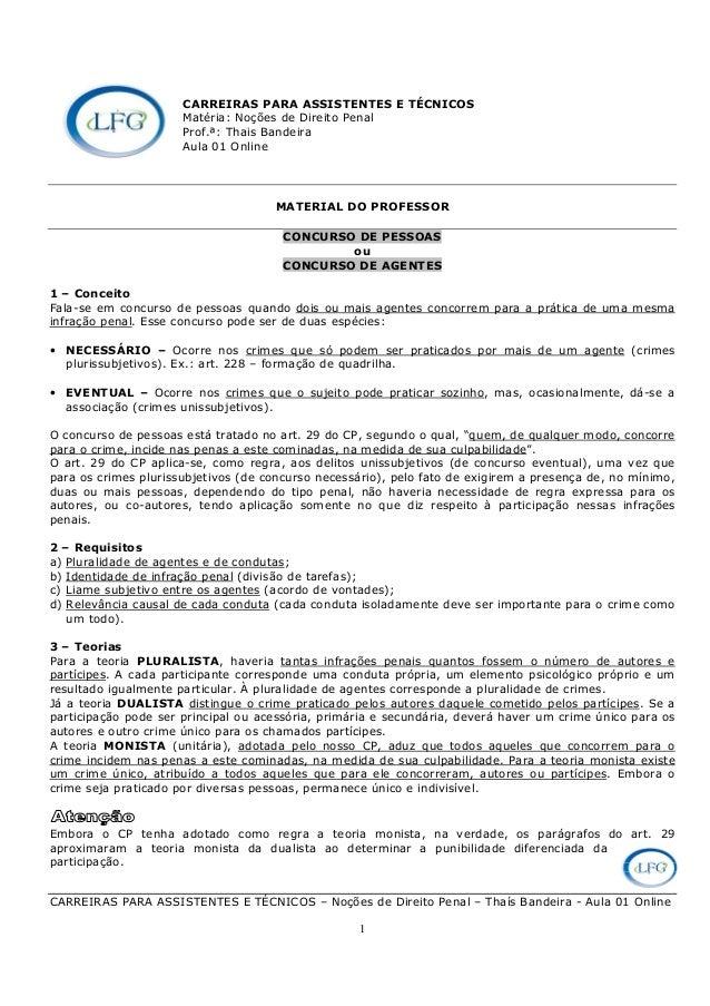 CARREIRAS PARA ASSISTENTES E TÉCNICOS – Noções de Direito Penal – Thaís Bandeira - Aula 01 Online 1 CARREIRAS PARA ASSISTE...