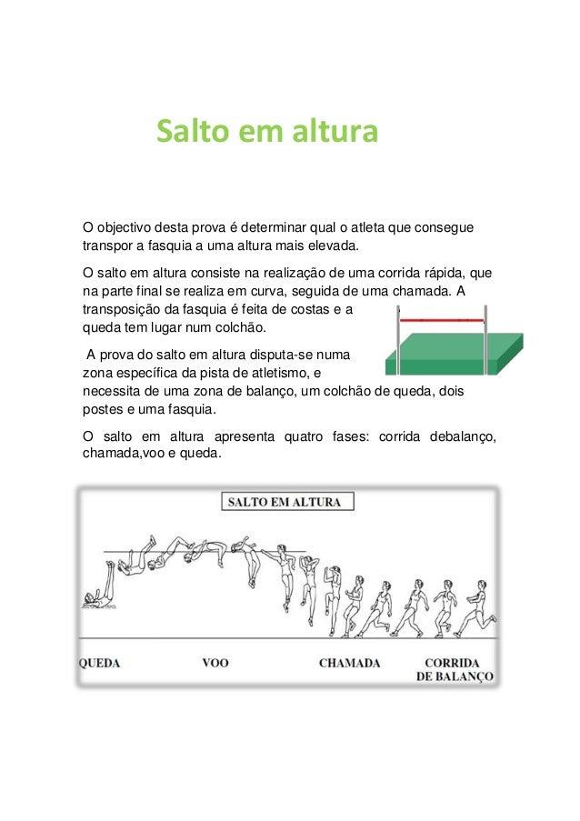 Salto em altura O objectivo desta prova é determinar qual o atleta que consegue transpor a fasquia a uma altura mais eleva...