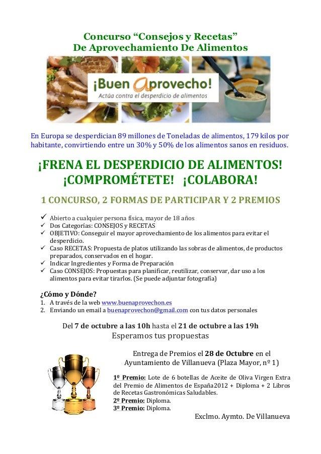 """Concurso """"Consejos y Recetas"""" De Aprovechamiento De Alimentos                             En  Europa ..."""