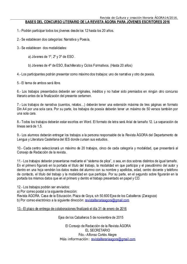 Revista de Cultura y creación literaria ÁGORA14/2016. BASES DEL CONCURSO LITERARIO DE LA REVISTA ÁGORA PARA JÓVENES ESCRIT...