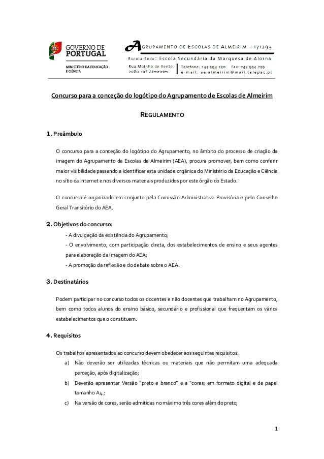 Concurso para a conceção do logótipo do Agrupamento de Escolas de Almeirim                                           REGUL...